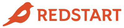 RedStart horizontal logo and wordmark in red