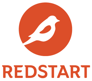 RedStart stacked logo and wordmark in red